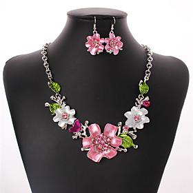 Women's Cubic Zirconia Jewelry Set Zircon, Silver Plated Flower Ladies, Bohemian, European, Fashion, Euramerican, Boho Include Drop Earrings Statement Necklace