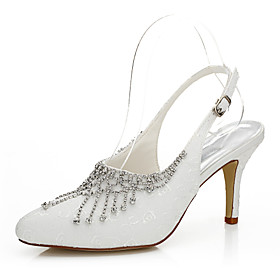 Women's Heels Spring / Summer / Fall Heels Silk Wedding / Party Evening / Dress Stiletto Heel Chain Ivory Others plus size,  plus size fashion plus size appare