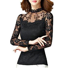Women Autmn Sexy Lace O Neck  Long Sleeve T Shirt