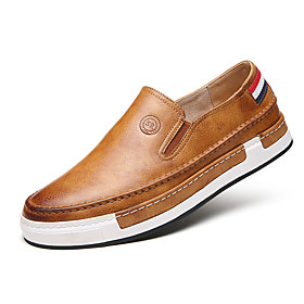 Men's Comfort Loafers Faux Leather Spring / Fall Comfort / British Loafers  Slip-Ons Walking Shoes Gray / Yellow / Brown