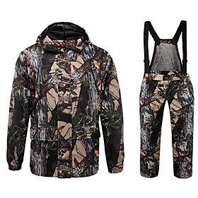 Image of Outdoor Sports Autumn Camo Jacket Coat with Trousers for Hunting Fishing Camouflage Hunting Suit Jacket Trousers
