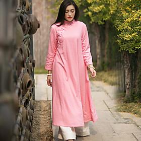 Ample Robe Femme Vacances Chinoiserie,Couleur Pleine Mao Mi-long Manches Longues Lin Automne Hiver Taille Normale Micro-élastique Epais