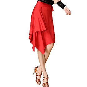 Latin Dance Skirts Women's Performance Training Chinlon Spandex Leopard 1 Piece Skirt 41-75