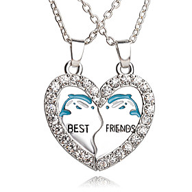 New Arrival Best Friends Broken Heart Dolphin Pendants  Necklaces Rhinestone Necklace Gift For Friends Jewelry 5244500