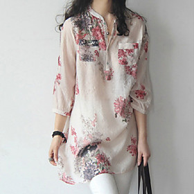 Women's Going out / Plus Size Simple / Street chic Blouse,Floral Stand ¾ Sleeve Blue / Red Cotton Thin