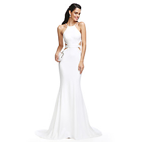 2017 TS Couture Formal Evening Dress Trumpet / Mermaid Spaghetti Straps Court Train Jersey with Sash / Ribbon