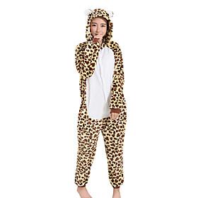 Kigurumi Pajamas Leopard Halloween Animal Sleepwear Yellow Leopard Velvet Mink Kigurumi Unisex / Female / MaleHalloween / Christmas /