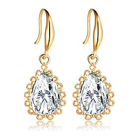 Fashion Gold Silver Plated Crystal Water Drop Earrings for Women Vintage Flower Wedding Party Jewelry Dangle Earrings