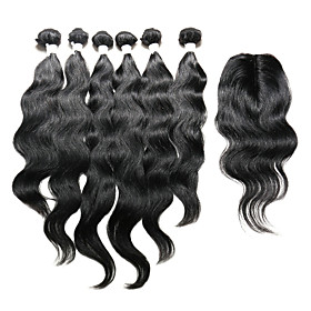 7 Pieces/Lot Natural Wave Hair Human Hair Weaves With Closure Color 1b Natural Black (16inch18inch20inch)