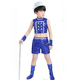 children's DJ costumes boys hip-hop jazz dance clothing blue/black 5369300