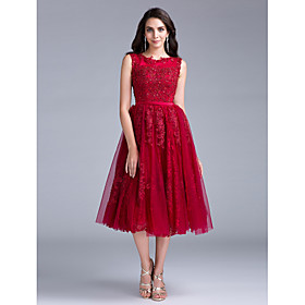 Cocktail Party Dress - Elegant A-line Scoop Tea-length Lace with Buttons Lace