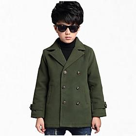 Rembourré Coton / Costume  Blazer Boy Couleur Pleine Décontracté / Quotidien Coton / Polyester Hiver / Printemps / Automne Bleu / Vert