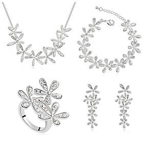 Schmuck Halsketten \/ Ohrringe \/ Ringe \/ Armband Schmuckset Kristall Modisch Alltag 1 Set Damen Goldfarben \/ Silber Hochzeitsgeschenke