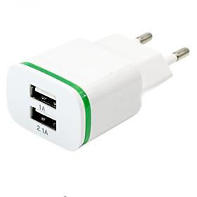 High Quality EU Plug 2.0A/1.0A Wall Charger Mini Dual Ports USB LED Light Fast Charging Power Adapter 5359702