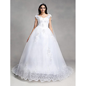 A-line Wedding Dress Vintage Inspired Chapel Train V-neck Lace Tulle with Appliques Sequin Beading plus size,  plus size fashion plus size appare