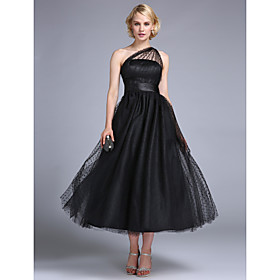 TS Couture Prom / Formal Evening / Wedding Party Dress - 1950s / Vintage Inspired Plus Size / Petite A-line / Princess One Shoulder Ankle-length plus size,  plus size fashion plus size appare