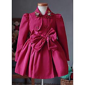 Costume  Blazer Fille Sortie Couleur Pleine Coton Printemps Automne Manches longues