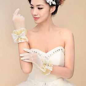 Wrist Length Fingertips Glove Tulle Bridal Gloves Spring Summer Fall Winter Embroidery