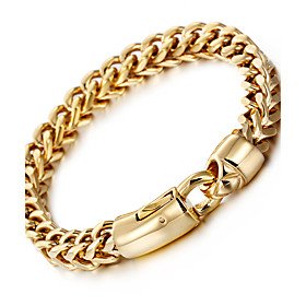 Men's Wheat Chain Bracelet - 18K Gold Plated, Stainless Steel, Titanium Stee..
