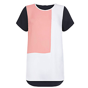 Women's Plus Size / Casual/Daily Simple / Cute Chiffion Loose Spring / Fall T-shirtColor Block Round Neck Short Sleeve