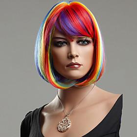 Colorful Rainbow Bobo Synthetic Hair wig 5351639