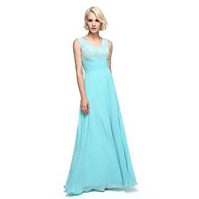Floor-length Chiffon Elegant Bridesmaid Dress - A-line V-neck with Sash / Ribbon / Ruching