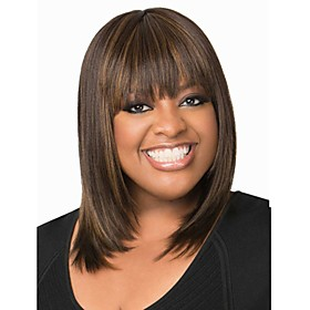 Short Straight Hair Brown Color Synthetic Wigs for Women 5377825