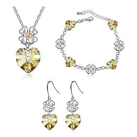 Schmuck Halsketten \/ Ohrringe \/ Armband Schmuckset Kristall Modisch Alltag 1 Set DamenRose \/ Marinenblau \/ Lavendel \/ Gelb \/ Blau \/ Grun