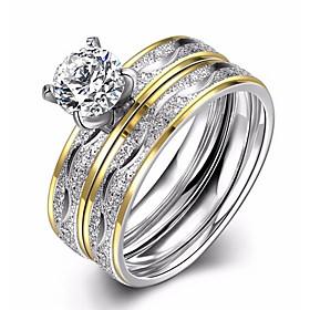 Women's AAA Cubic Zirconia Band Ring / Engagement Ring - Zircon, Titanium St..