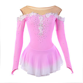 Figure Skating Dress Women's Girls' Ice Skating Dress Pink Flower Halo Dyeing Spandex Mesh High Elasticity Competition Skating Wear Breathable Handmade Novelty