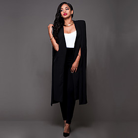 Women's Casual/Daily / Work Simple / Street chic Cloak  All Match OL Style Spring / Fall BlazerSolid Cowl Long Sleeve