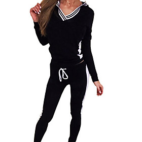 Women's Casual/Daily / Sports Simple / Active Fall / Winter Set Pant Suits,Check V Neck Long Sleeve Pink / Gray Cotton Medium