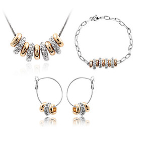 Schmuck Halsketten \/ Ohrringe \/ Armband Schmuckset Kristall Modisch Alltag 1 Set Damen Goldfarben Hochzeitsgeschenke