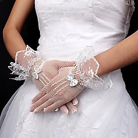 Wrist Length Fingertips Glove Net Bridal Gloves Spring Summer Fall Winter lace