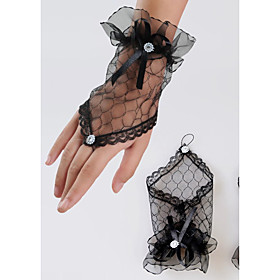 Wrist Length Fishnet Glove Lace Bridal Gloves Spring Summer Fall Winter Floral Rhinestone