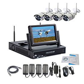 Strongshine Wireless IP Camera with 960P Infrared Waterproof and NVR with 7 Inch LCD Combo Kits