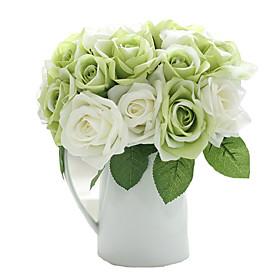 9 Branch Silk Roses Tabletop Flower Artificial Flowers