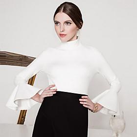 Femme Manches Evasées Tee-shirt,Couleur Pleine Sortie Vintage Automne/Hiver Manches Longues Col Roulé Rouge/Blanc/Noir Nylon Opaque