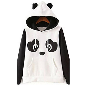 Women's Casual/Daily Cute Hoodie Color Block Round Neck Micro-elastic Cotton Long Sleeve Fall Winter 5374499