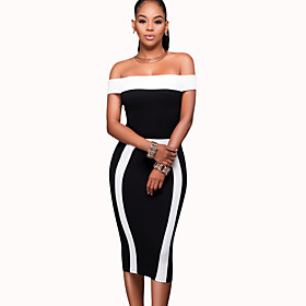 Women's Casual Club Sexy / Street chic Backless Slim Bodycon DressColor Block Off Shoulder Knee-length Sleeveless