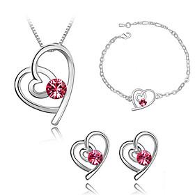 Schmuck Halsketten \/ Ohrringe \/ Armband Schmuckset Kristall Modisch Alltag 1 Set Damen Rose \/ Wei \/ Blau \/ Grun Hochzeitsgeschenke