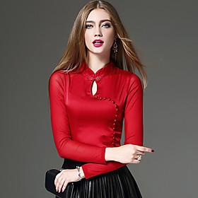 Femme Découpé Tee-shirt,Couleur Pleine Mosaïque Sortie Décontracté/Quotidien Travail Vintage Chic de Rue Chinoiserie Printemps AutomneManches