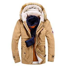 Image of Men's Long Padded Coat,Simple / Active Casual/Daily / Formal Color Block-Cotton Cotton Long Sleeve Shirt CollarBlue / Red / Beige / Black