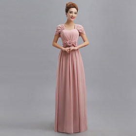 Floor-length Chiffon Mix  Match Sets Bridesmaid Dress - Sheath / Column V-neck with Flower(s) / Side Draping / Bandage