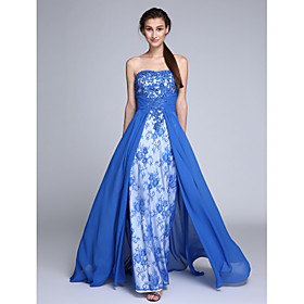 2017 TS Couture Prom Formal Evening Dress Sheath / Column Strapless Sweep / Brush Train Chiffon / Lace with Beading