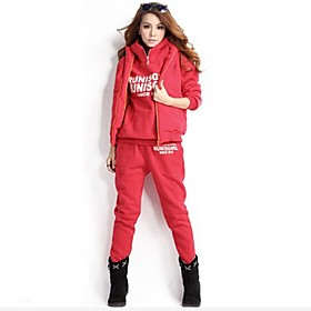 Women's Long Sleeve Running Tracksuit Hoodie Clothing Suits Thermal / Warm Soft Comfortable Thick Winter Fall/Autumn Sports Wear 5389665