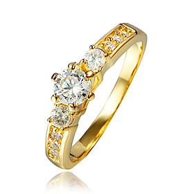 Real 18K Yellow Gold Jewelry Ring for Women with Zircon