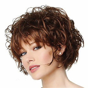 Short Curly Fluffy Full Side Bang Synthetic Wigs Brown Heat Resistant Wig 5406333