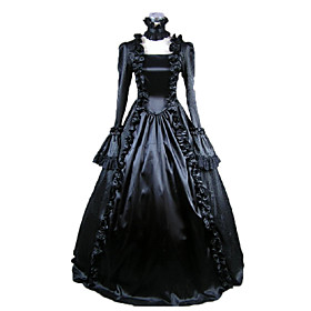 Medieval Victorian Costume Women's Dress Masquerade Party Costume Black Vintage Cosplay Satin Long Sleeves Poet Long Length 1459435