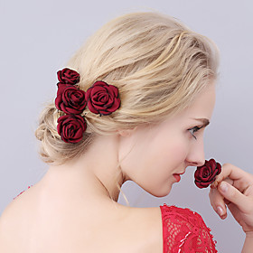 Fabric Headpiece-Handmade Flower Hair Pin 1 Piece Burgundy Cameo Brown Dark Purple